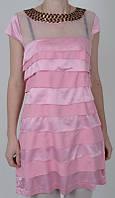 Молодежное розовое платье с коротким рукавом
