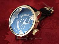 Часы Alberto Kavalli в стиле Diesel двойное время, золотой корпус черный ремешок