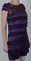 Комбинированное женское платье фиолетового цвета