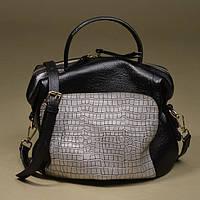 Черная кожаная сумка с серебристой вставкой. Натуральная кожа. Отличное качество. Модный аксесуар Код: КГ4