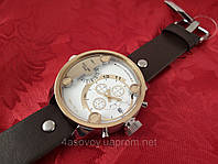 Часы Alberto Kavalli в стиле Diesel двойное время, золотой корпус, черный ремешок, светлый циферблат