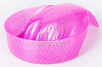 Ванночка для маникюра с блестками розовая, круглая