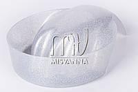 Ванночка для маникюра с блестками серебро, круглая