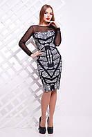 Платье с принтом по полочке и рукавами из сетки Кружево черное сукня Донна2 д/р