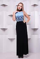 Элегантное платье макси с голубым лифом и черной юбкой Кружево черное сукня Бомонта б/р