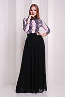 Платье в пол с верхом цвета пудра и черной пышной юбкой Кружево черное сукня Памония д/р