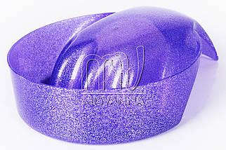 Ванночка для маникюра круглая, фиолетовые блестки