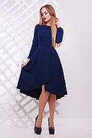 Синее платье с удлиненной юбкой по спинке сукня Лика д/р