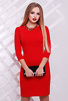 Облегающее однотонное красное платье выше колен сукня Модеста д/р