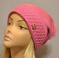 Красивая шапка с фактурным отворотом и песцовым помпоном  Жанна розовый