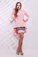 Женский вечерний юбочный костюм персикового цвета Узор розовый Элизабет