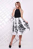 Платье без рукавов с черным верхом и пышной юбкой Черные цветы сукня Мирана б/р