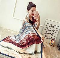 Разноцветный шарф - палантин Крылья из натурального шелка. Тёплый. Отличное качество. Доступная цена. Код: КГ5