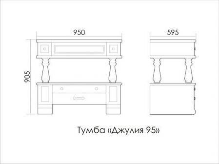 Комплект мебели Ольвия (Атолл) Джулия 95 см dorato (золото), фото 2