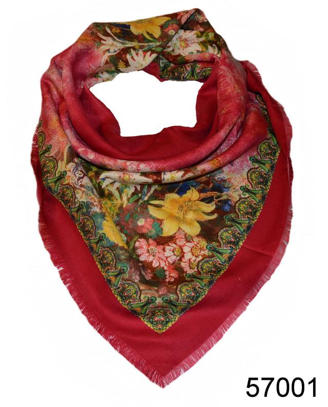 Платок шерстяной лилия красный 1