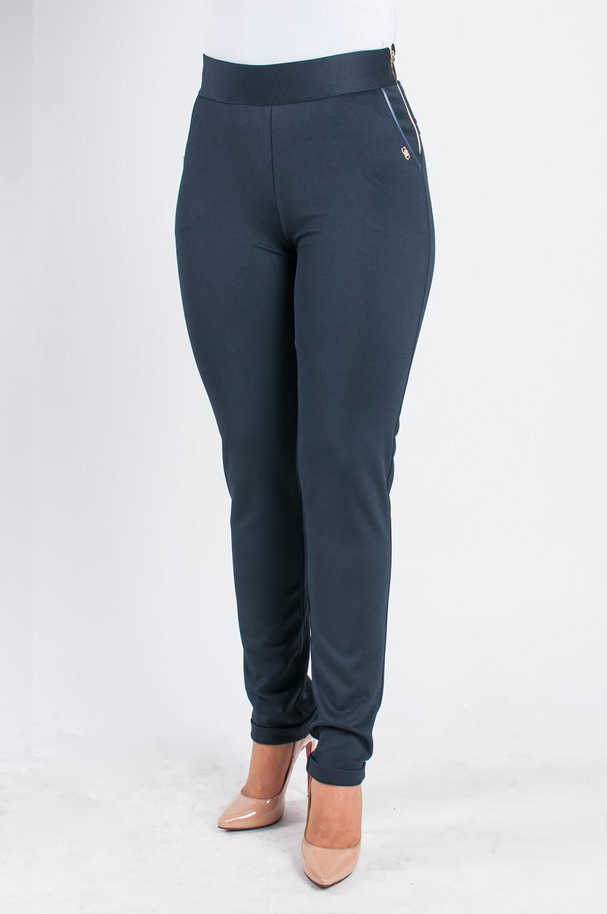 Молодежные трикотажные брюки Даяна  синего цвета