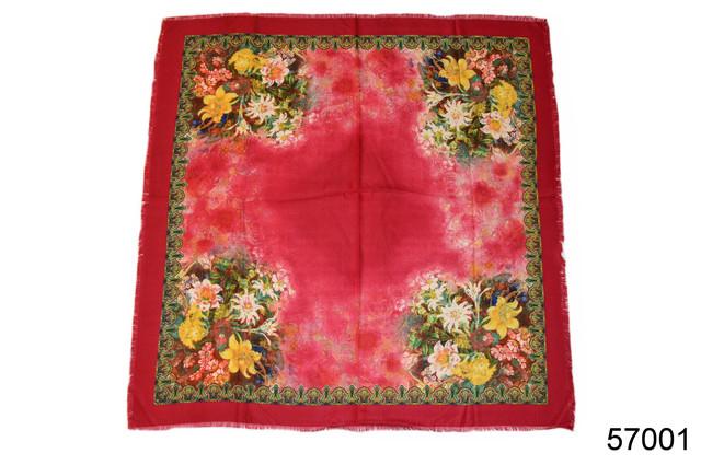 Платок шерстяной лилия красный 2