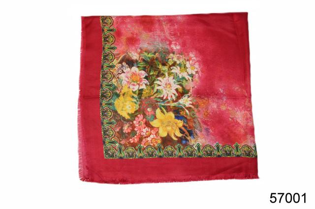 Платок шерстяной лилия красный 3