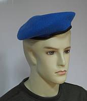 Берет синий капелька фетровый цельнотянутый