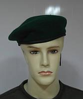 Берет зеленый капелька фетровый цельнотянутый