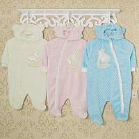 Комбинезон махровый теплый, человечки для новорожденных. Код 1409KAY+GERDA. Рост 44-50,56,62,68 в наличии.