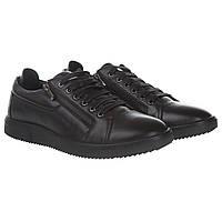 Туфли мужские Basconi (стильные, черные, я шнурках, с декоративными замками-молниями)