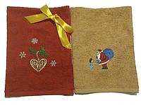 Набор из 2 махровых полотенец с вышивкой 30*50см