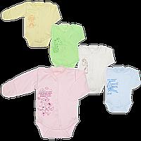 Боди с длинным рукавом, однотонное c принтом, кнопки посредине, начес, ТМ Алекс, р. 56, 62, 68, 74, 86