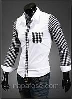 Рубашка мужская с клетчатыми рукавами