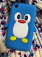 Силиконовый чехол Пингвин iPhone 3Gs/3, фото 1