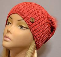 Теплая шапка для женщин с песцовым помпоном Бриджит  алый
