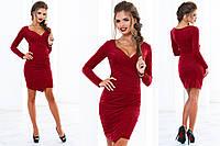 Женское облегающее замшевое платье с запахом в разных цветах