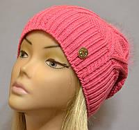 Теплая шапка для женщин с песцовым помпоном Бриджит  розовый