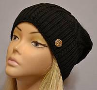 Теплая шапка для женщин с песцовым помпоном Бриджит  черный