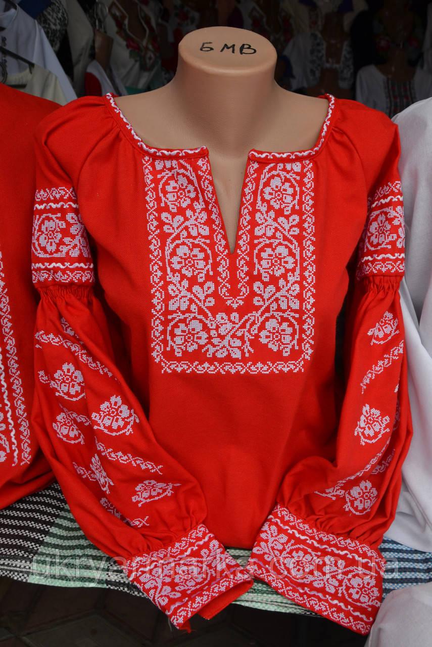 """Жіноча вишита блузка """"Родинне дерево"""" червона"""