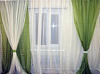 Комплект гардина, декоративные шторы, и подхваты. Код 001дк