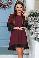 Платье-мини удлиненное сзади, декорировано французским кружевом(три расцветки)1028