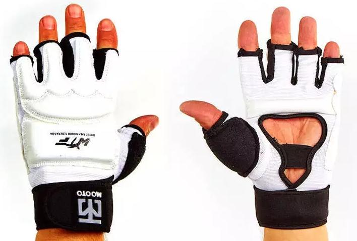 Накладки (перчатки) тхэквондо с фиксатором запястья MTO BO-5078-W (р. XL, белый, полиэстер)
