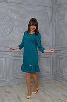 Теплое женское платье с рюшами