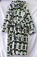 Мужской халат из вельсофта на запах с капюшоном, с рисунком