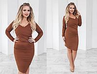 Женское облегающее замшевое платье больших размеров в разных цветах