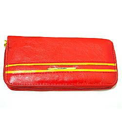 Красный тонкий женский кошелек из кожзаменителя
