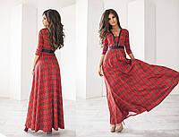 Женское трикотажное платье макси с глубоким декольте в разных цветах