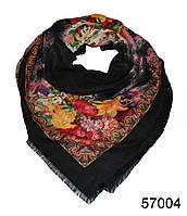 Купить платок шерстяной лилия черный