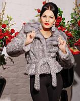 Шуба женская Шаде леопард серый, шубу купить украина