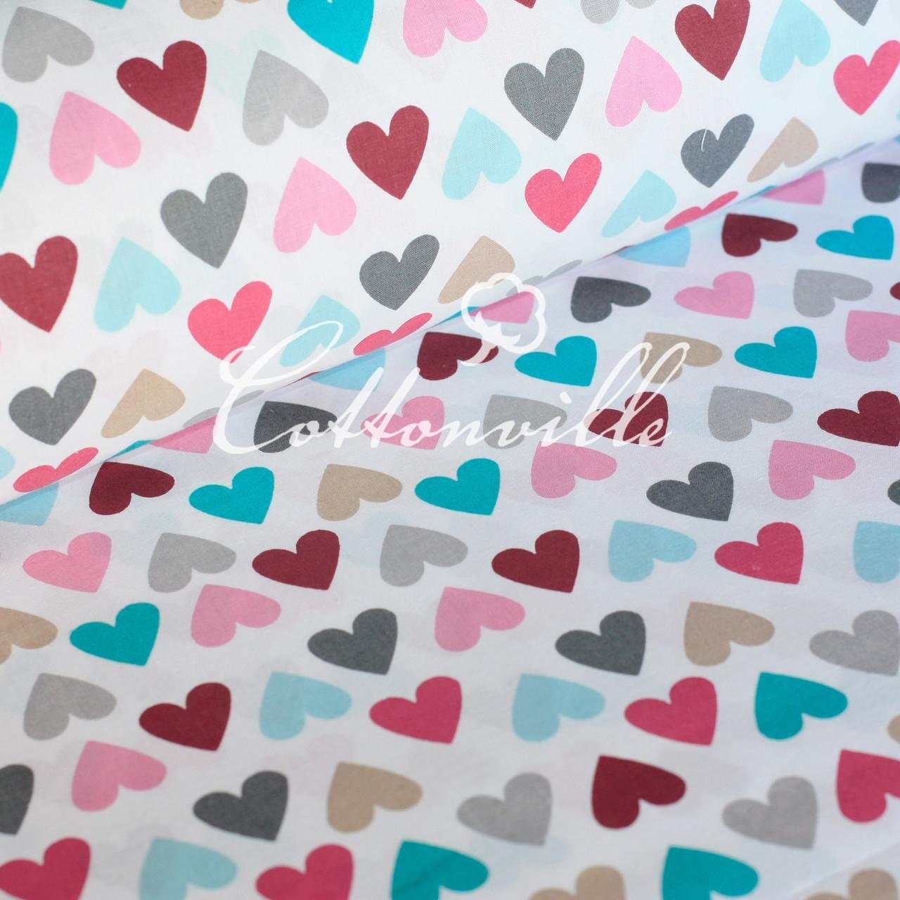 Хлопковая ткань Сердечки разноцветные