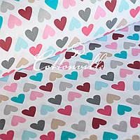 Хлопковая ткань Сердечки разноцветные, фото 1