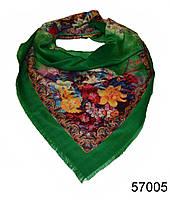Купить платок шерстяной лилия зеленый