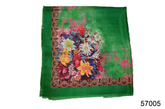 Платок шерстяной лилия зеленый 3