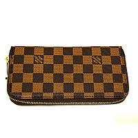 Коричневый тонкий женский кошелек Louis Vuitton